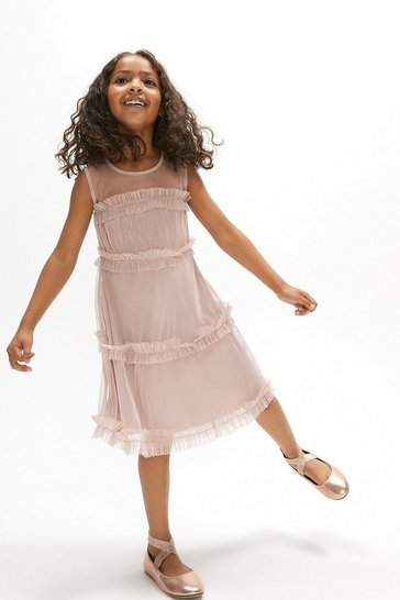 Blush Girls Ruffle Tiered Bridesmaids Dress