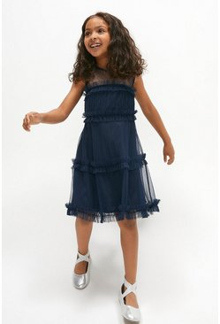 Navy Girls Ruffle Tiered Bridesmaids Dress