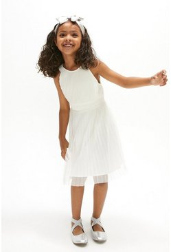 Ivory Girls Pleated Bridesmaids Dress