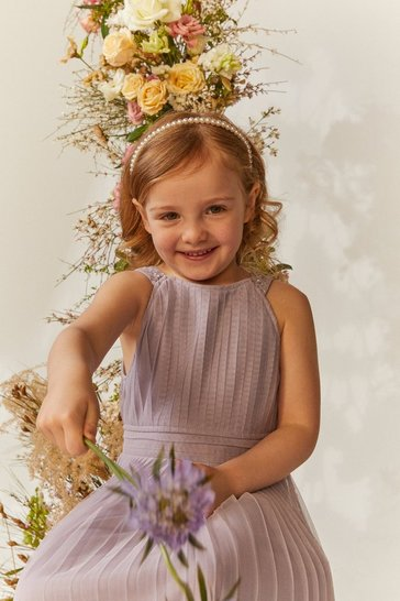 Lilac Girls Pleated Bridesmaids Dress