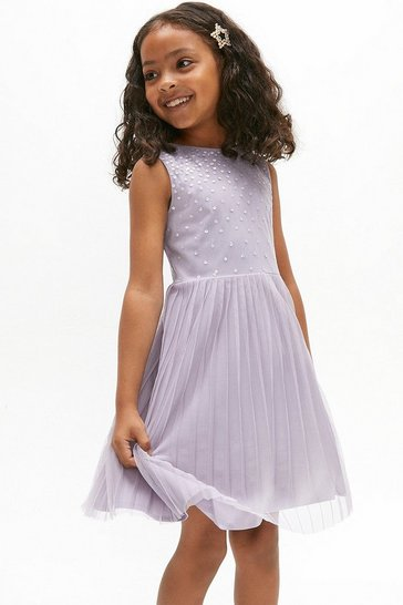 Lilac Girls Sequin Pleated Skirt Bridesmaids Dress