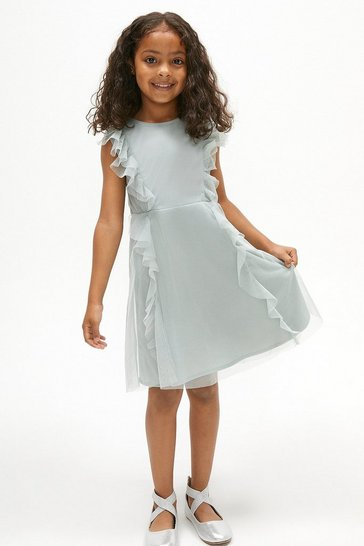 Blue Girls Ruffle Mesh Bridesmaids Dress