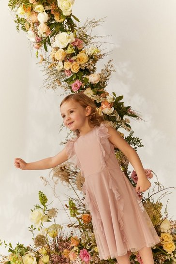 Blush Girls Ruffle Mesh Bridesmaids Dress
