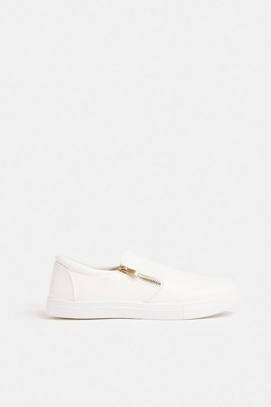 White Slip Ons With Zip Detail