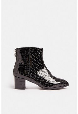Black Croc Low Heel Boots