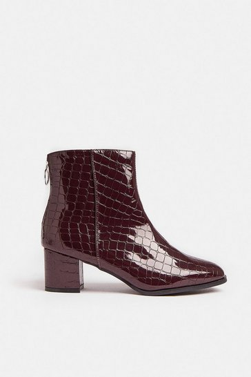 Burgundy Croc Low Heel Boots
