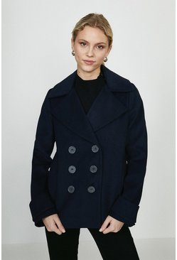 Navy Double Breasted Wool Coat