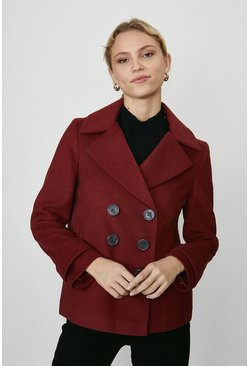 Red Double Breasted Wool Coat