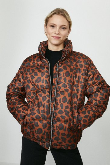 Red Leopard Print Puffer Coat