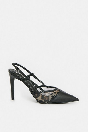 Black Mesh Sling Back Court Shoe