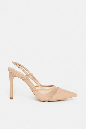Nude Mesh Sling Back Court Shoe