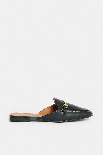 Black Cross Bar Backless Loafer