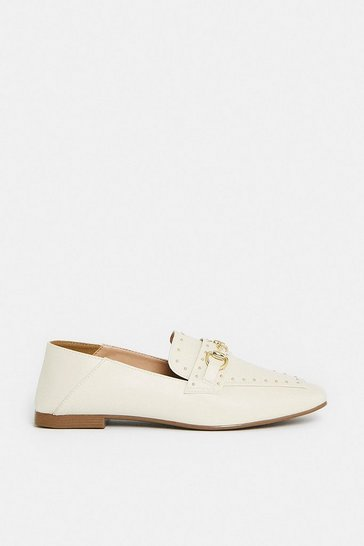 Nude Stud And Bar Detail Loafer