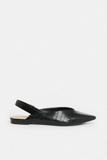 Black Slingback Pointed Croc Ballet Shoes