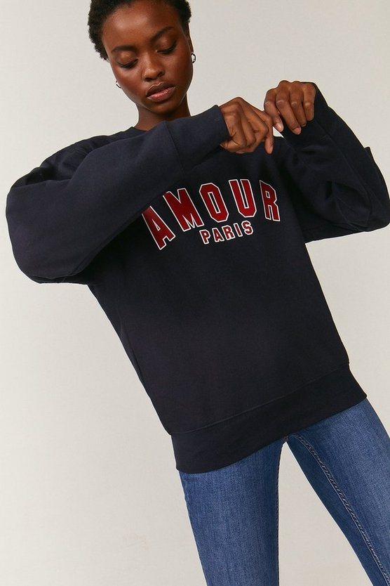 Navy Amour Slogan Sweatshirt