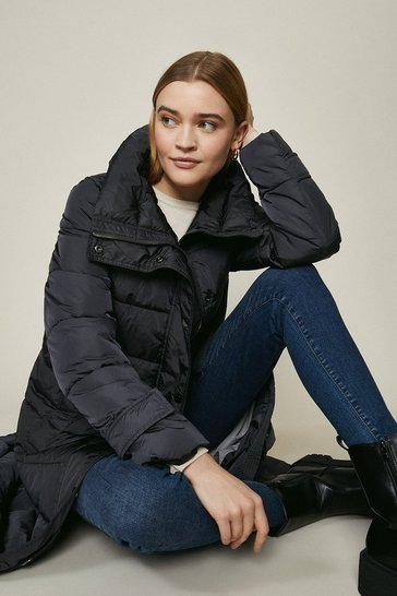 Grey Maxi Button Up Puffer Coat