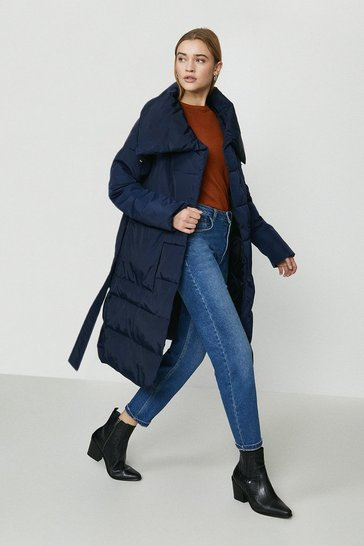Navy Belted Midi Puffer Coat