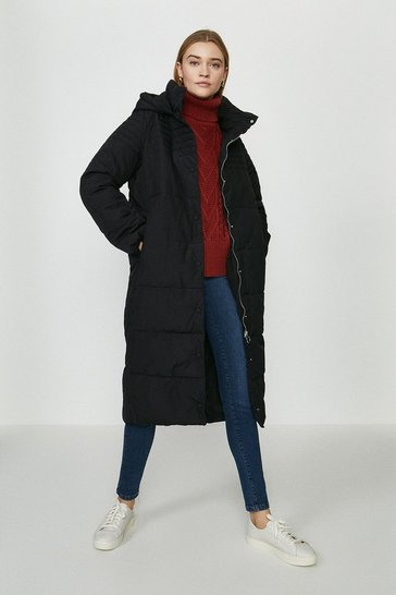Black Button Up Maxi Puffer Coat