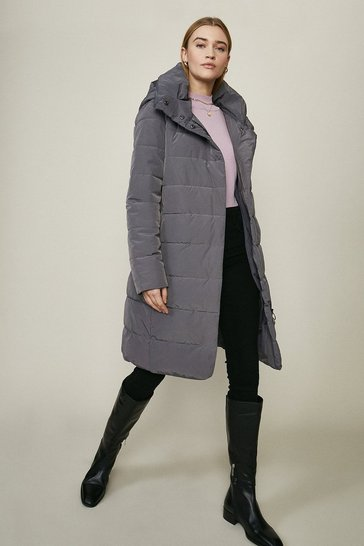 Grey Midi Hooded Puffer Coat