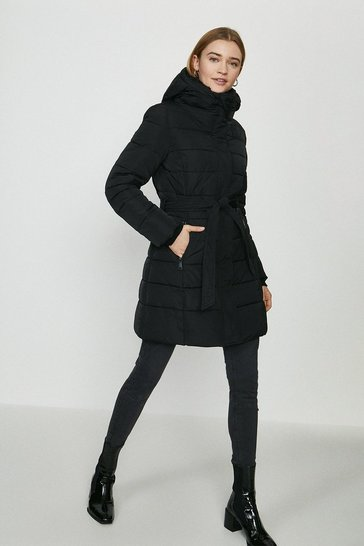 Black Hooded Puffer Coat With Tie Belt