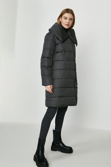 Grey Oversized Collar Midi Puffer Coat