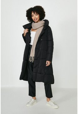 Black Button Up Midi Puffer Coat