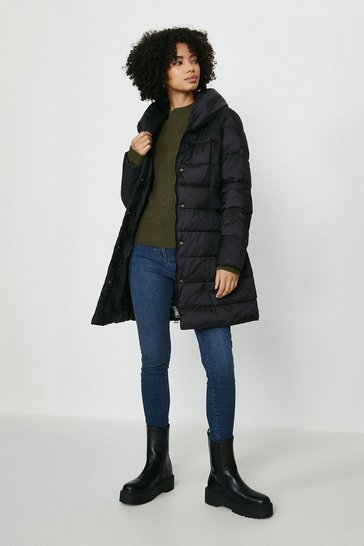 Black Midi Puffer Coat With Tie Waist