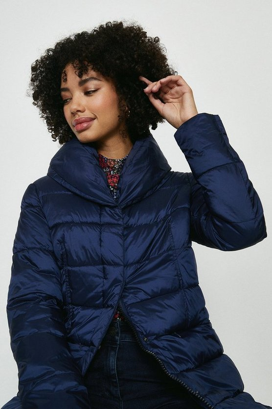 Navy Midi Puffer Coat With Tie Waist