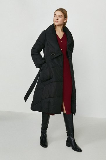 Black Oversized Midi Puffer Coat With Tie Waist