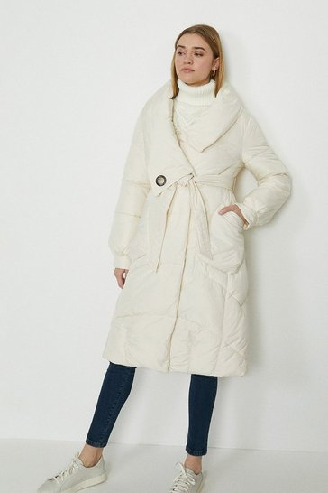 Ivory Oversized Midi Puffer Coat With Tie Waist