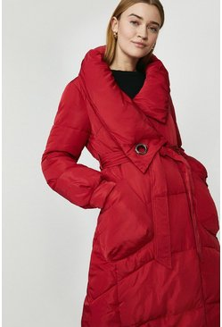 Red Oversized Midi Puffer Coat With Tie Waist