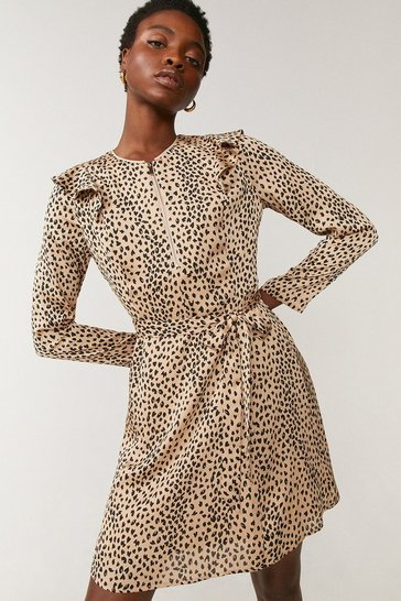 Animal Printed Frill Detail Zip Dress
