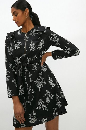 Floral Printed Frill Detail Zip Dress