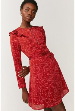 Red Printed Frill Detail Zip Dress