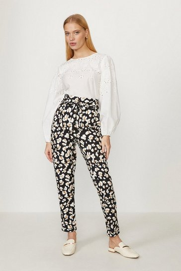 Multi Printed Paper Bag Tailored Trousers