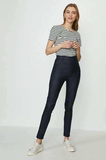Navy Rome Flat Front Coated Jegging