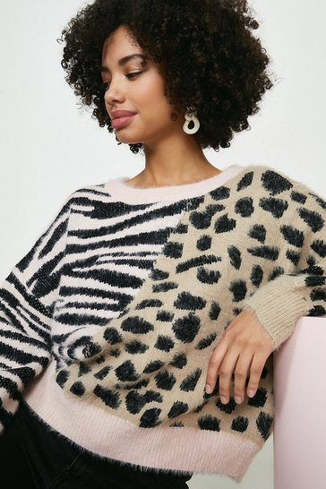 Blush Wild Flower Animal Colourblock Jumper
