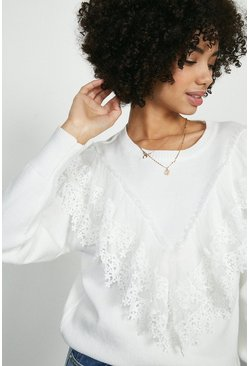Ivory Wild Flower Lace Front Jumper