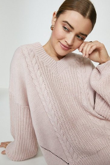 Blush Wild Flower V Neck Jumper