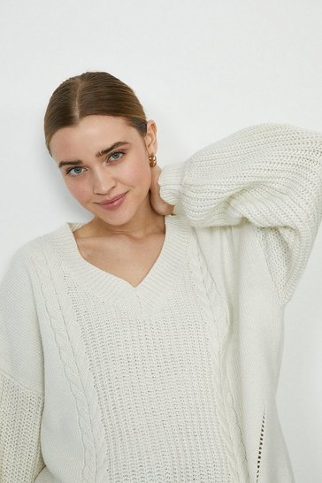 Ivory Wild Flower V Neck Jumper