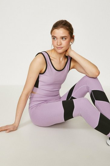 Lilac Colour Block Sports Bra