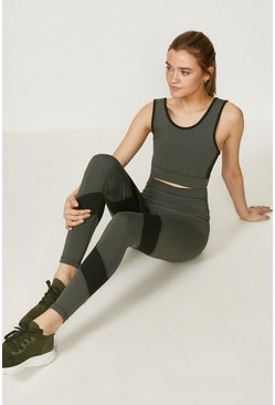 Khaki Colour Block Sports Legging