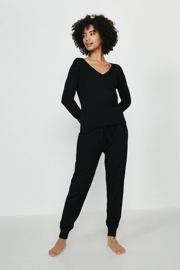 Black Brave Soul V Neck Sweat And Jogger Lounge Set