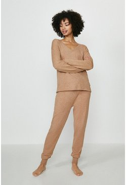 Camel Brave Soul V Neck Sweat And Jogger Lounge Set
