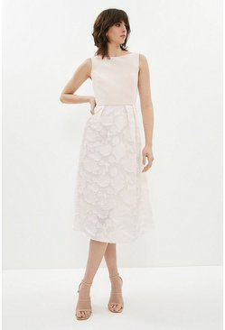 Blush High Low Clipped Jacquard Dress