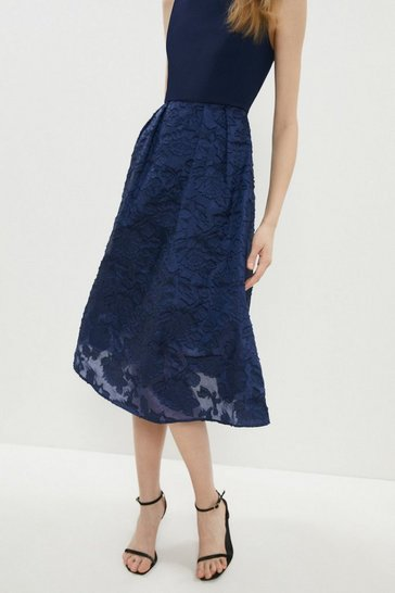 Navy High Low Clipped Jacquard Dress