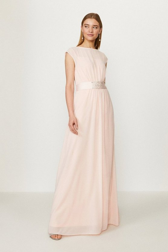 Blush Beaded Waist Detail Maxi Dress