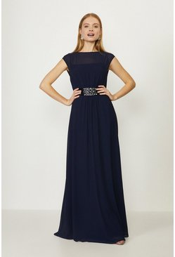 Navy Beaded Waist Detail Maxi Dress