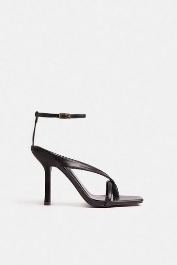 Black Square Toe Strappy Heel