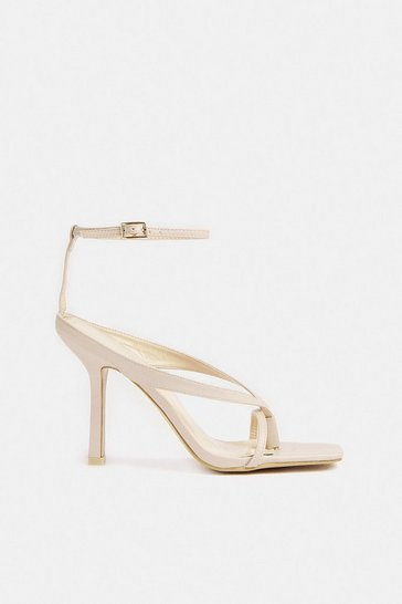 Nude Square Toe Strappy Heel
